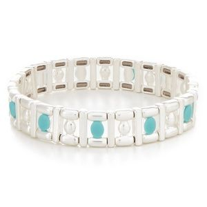 NWT Lucky Silver & Turquoise Geo Stretch Bracelet
